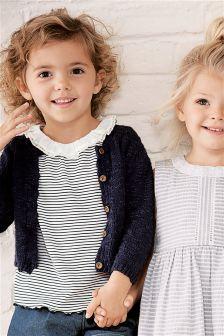开衫和条纹T恤套装 (3个月-6岁)