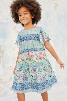 碎花镶边印花中长连衣裙 (3个月-6岁)