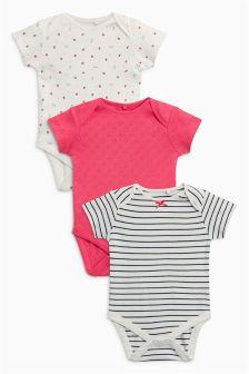 草莓图案连体衣三件装 (0个月-2岁)