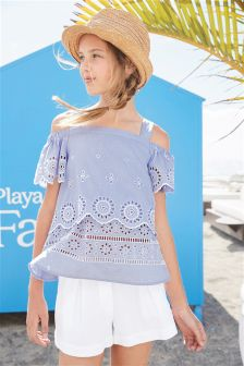 Broderie Blouse And Shorts Set (3-16yrs)