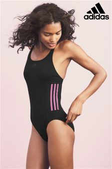 adidas Black And Pink 3 Stripe Swimsuit