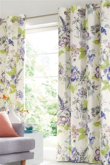 Illustrative Fusion Floral Print Eyelet Curtains