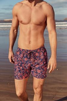 Orange Mendi Print Swim Shorts