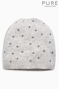 Pure Collection Grey Sparkle Trim Hat