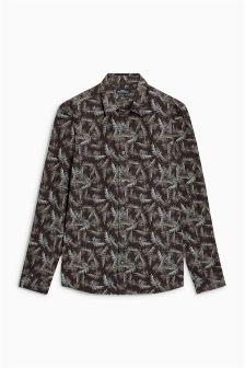 Long Sleeve Leaf Print Shirt