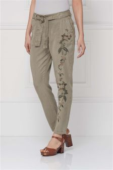 Embroidered Taper Trousers