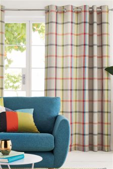 Multicoloured Woven Check Eyelet Curtains Studio Collection By Next