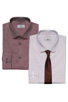 Printed And Plain Regular Fit Shirts With Tie Two Pack