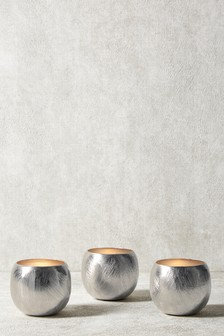 Set Of 3 Collection Luxe Scratch Metal Tealights