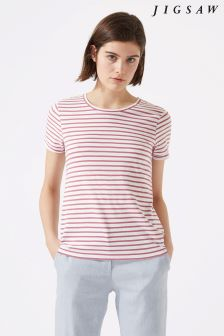 Jigsaw Pink Cotton Slub Stripe Short Sleeve T-Shirt