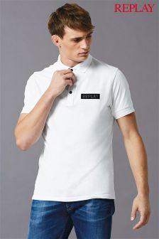 Replay® White Patch Logo Pique Polo