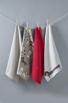 Set Of 4 Pugs And Co Tea Towels