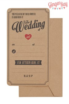 10 Pack Ginger Ray Wedding Invitations