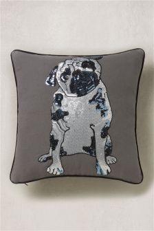 Sequin Detail Pug Cushion