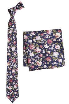 Хлопковый галстук с цветочным рисунком и платок для пиджака