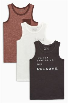 Slogan Vests Three Pack (3-16yrs)