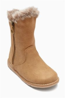 Faux Fur Trim Boots (Younger Girls)