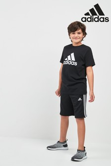 adidas Essentials Black 3-Stripe Jersey Short