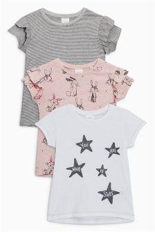 Trzy koszulki z krótkim rękawem, w króliczki (3m-cy-6lat)