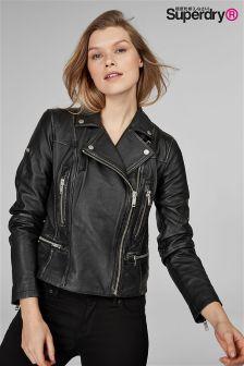 Superdry Black Leather Biker Jacket