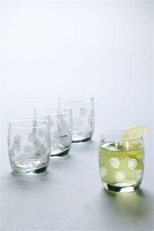 Set Of 4 Lemon Tumbler Glasses