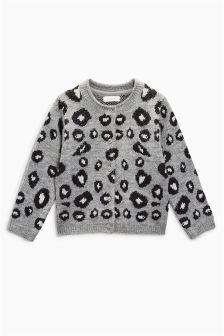 动物纹印花提花针织开衫 (3个月-6岁)