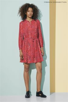 French Connection Red Frances Drape Long Sleeve Dress