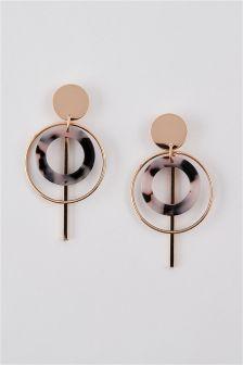 Circle Tortoiseshell Effect Drop Earrings