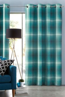 Teal Fulton Woven Graded Check Eyelet Curtains