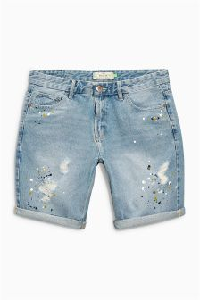 Paint Splat Rip And Repair Shorts