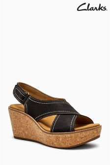 Clarks Black Leather Cross Over Ortholite Wedge