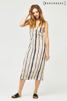 Warehouse Pink Dash Stripe Wrap Dress