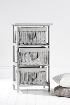 Grey Painted Willow 3 Drawer Unit