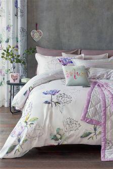 Parure de lit en coton satiné avec fleurs éclatantes