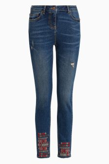 Embroidered Hem Skinny Jeans
