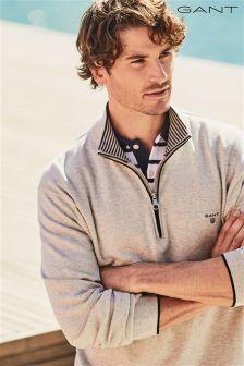 Gant Grey Half Zip Knit Jumper