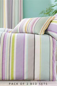Set van 2 pastelkleurige gestreepte dekbedovertreksets