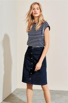 A-Line Utility Denim Skirt