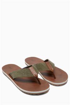 Canvas Leather Flip Flop