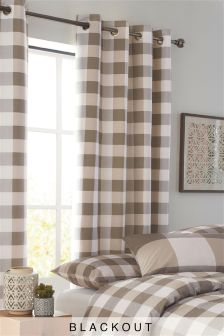Natural Gingham Eyelet Blackout Lined Curtains