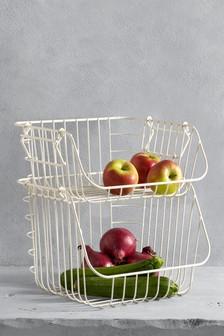 Obst- und Gemüsegestell in Creme, 2-lagig