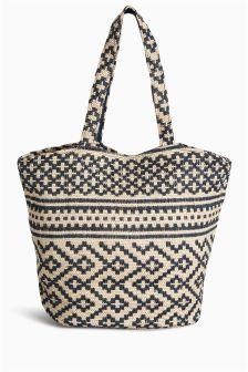 Geo Print Beach Bag