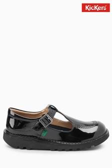 Черные лакированные туфли Kickers® с Т-образным ремешком