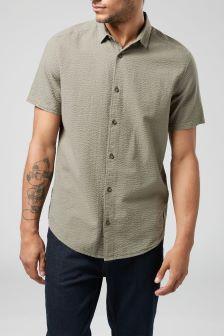 Текстурированная рубашка с коротким рукавом