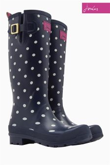 Joules Navy Spot Tally Welly