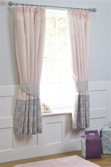 Little Blossom Cotton Blackout Pencil Pleat Curtains