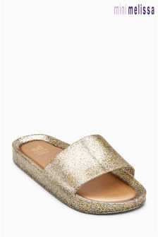 Золотистые пляжные шлепанцы Mini Melissa