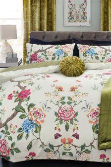 Комплект хлопкового постельного белья c зеркальным цветочным рисунком