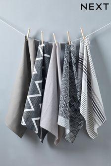 Set Of 5 Grey Geo Design Tea Towels