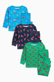 Printed Snuggle Fit Pyjamas Three Pack (9mths-8yrs)